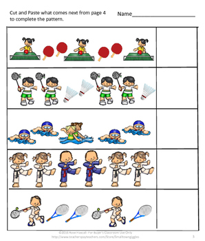 Summer Games, Sports Themed, Cut and Paste, Summer School, Special Education,
