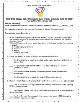 Summer Olympics Informational Text Question Set