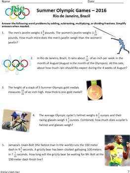 Summer Olympics Math Review - Operations with Fractions
