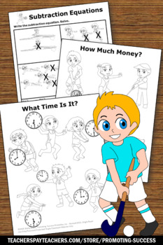 Summer Math Packet, Kindergarten Math Worksheets, Summer Olympics Sports Theme