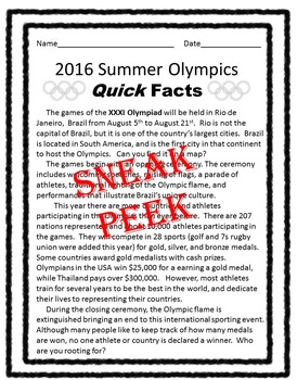 Summer Olympics Comprehension Worksheets: 3 Levels of Differentiated Instruction