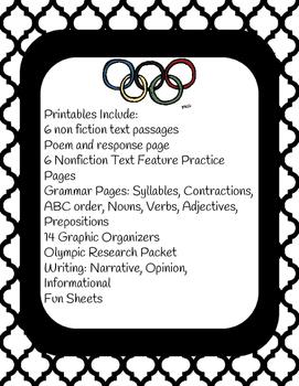 Summer Olympics Rio, Language Arts Printables
