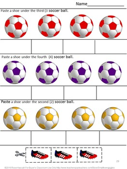 Soccer  Cut and Paste Math & Literacy Centers NO PREP Worksheets