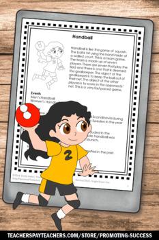Summer Reading Comprehension, Handball Sports Theme, Literacy Worksheets