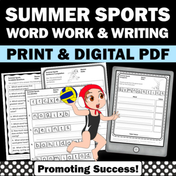Word Scramble Summer Olympics, Scrabble Letters, Summer School Worksheets