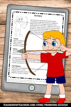 Summer School Reading Activities ARCHERY Summer Olympics Sports Theme