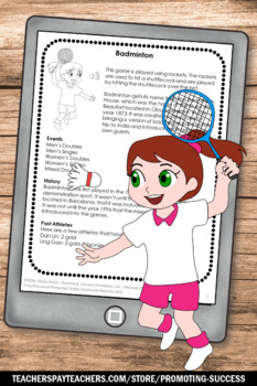 Summer Olympics Activities BADMINTON Reading Comprehension Worksheets