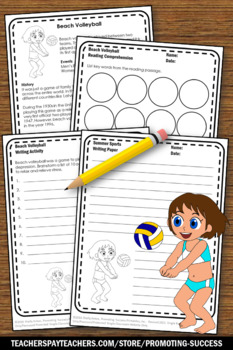 Summer School Reading Activities BEACH VOLLEYBALL Summer Olympics Theme