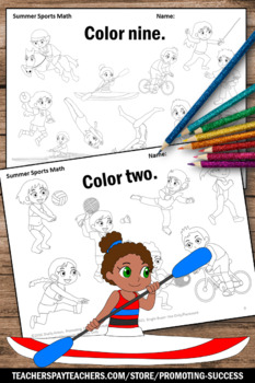 summer sports theme kindergarten counting worksheets coloring pages. Black Bedroom Furniture Sets. Home Design Ideas