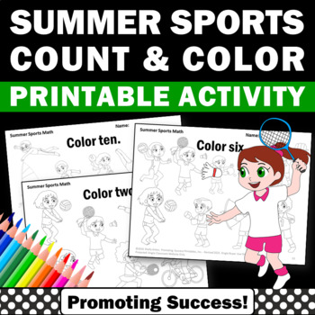 Summer Olympics Sports Math Counting and Coloring Worksheets