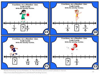 Fractions on a Number Line Task Cards, 3rd Grade Summer Math Review