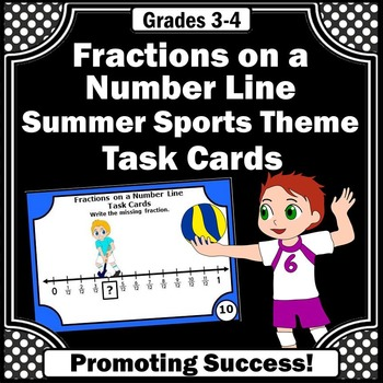 Summer Olympics Sports Math Fractions on a Number Line Tas