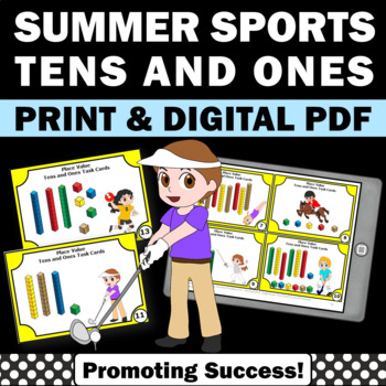Summer Sports Tens and Ones Math Place Value MAB Task Card