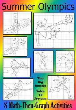 Summer Olympics - The Big Bundle - 8 Math-Then-Graph Activ