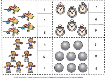 Track and Field Count to 20 Count and Clip Task Cards Kindergarten Math Center