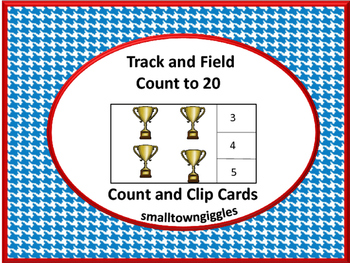 Track and Field Count to 20 Count and Clip Task Cards Kind