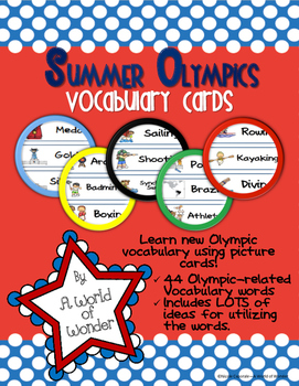 Summer Olympics: Vocabulary Cards (Word Wall)