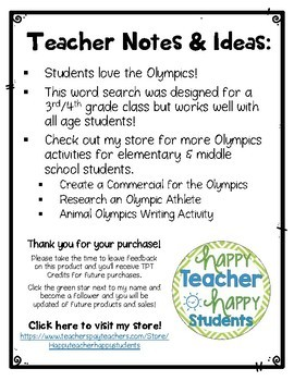 Summer Olympics 2016 Word Search