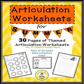Summer Speech Therapy Articulation Pack for Speech Therapy-Data Friendly- Themed