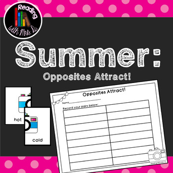 Summer Opposites Antonyms Game and Recording Page
