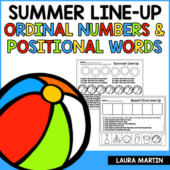 Summer Ordinal Numbers and Positional Words FREEBIE