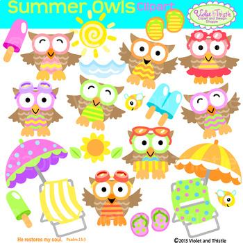 Summer Owl Clipart Owls Beach Chair Umbrella Clipart Clip Art