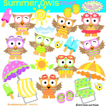 Owl summer. Clipart owls beach chair