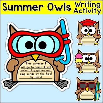 Summer Activities - Owls Writing & Bulletin Board Decor: Snorkel, Graduate, Surf