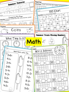 Kindergarten Summer Homework Pack Print & Go~Get Ready For First Grade