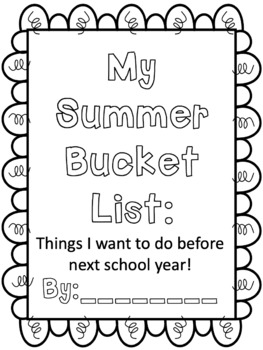 Summer Bucket List - A Summer Packet - Summer Review