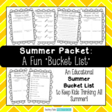Summer Bucket List - Summer Activities and Review for Cont