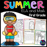 Summer Packet 1st Grade Math Worksheets and Literacy | Summer Worksheets