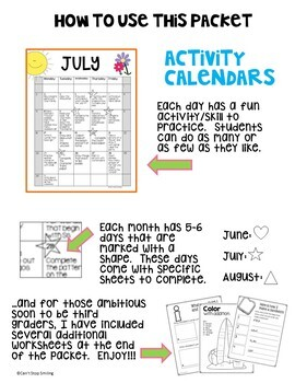 Summer Packet 2nd Grade with Summer Calendar ~ Get Ready for 3rd Grade