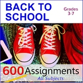 Back to School Bundle | 600 Assignments | All Subjects (Gr. 3-7)