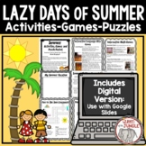 Summer Activities Games and Puzzle Packet - No Prep