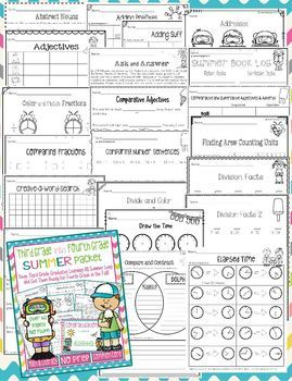 Summer Packet Bundle for Incoming 3rd Graders and 4th Graders