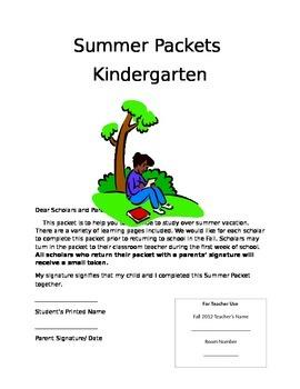 Summer Packet Cover sheet