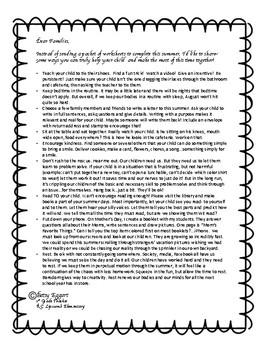 Summer Packet Letter