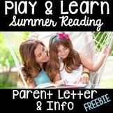 Summer Packet- Parent Letter & Info- FREE for Pre-K, Kinde