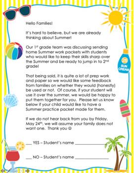 Summer Packet Parent sign-up