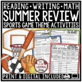 Sports Theme Summer Packet 3rd Grade, 4th Grade Summer Activities Review Packet