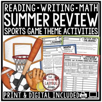 Sports Theme Summer Packet 3rd Grade, 4th Grade Summer Activities Review Packet