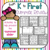 Summer Packet Review for students going from K to first, e