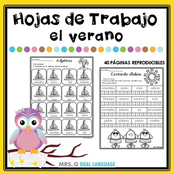 Verano: Hojas de trabajo. Summer Literacy  Practice Packet  in Spanish