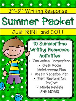 Summer Packet Super Fun Language Arts Writing Response Act