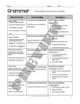 Summer Packet for Middle School: Reading, Writing, Grammar