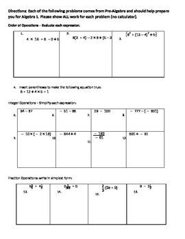 Summer Packet for entering Algebra 1