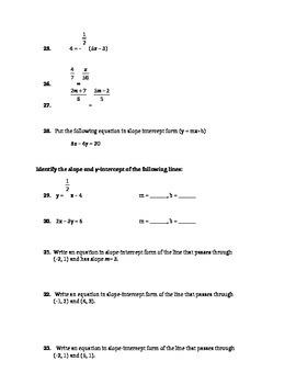 Summer Packet for entering Algebra 2