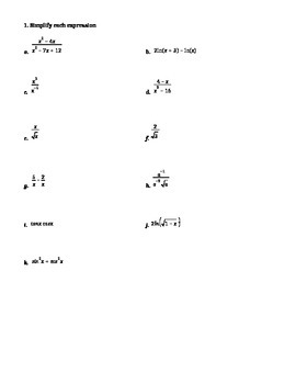 Summer Packet for entering Calculus