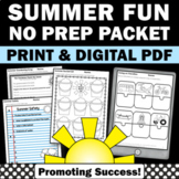 Summer Activities Worksheets Packet - Great for Summer Sch